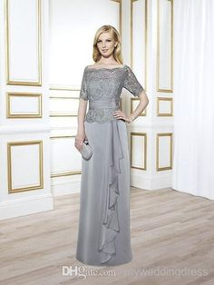 Vintage Mother of The Bride Groom Wedding Dresses Grey Sliver With Lace 1/2 Half Long Sleeves Sexy 2015 Formal Ball Gowns Suits Dress Sheer