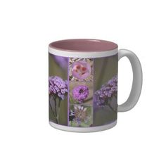Purple Violet Pink Flowers Collage Coffee Mug from Zazzle.com