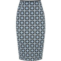 Pinko Neoprint Fenicottero Pencil Skirt (8.100 RUB) ❤ liked on Polyvore featuring skirts, blue, pencil skirt, geometric pencil skirt, geometric print skirt, geometric skirt and geometric print pencil skirt