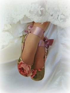 Romantic Rose Ballet Slippers Vintage Rose by HopefullyRomantic