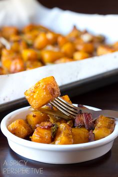 Roasted Butternut Squash with Leeks, Bacon and Apple Glaze, just like the Pilgrims intended it ;)