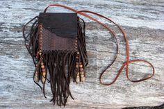 Snake Skin Medicine Bag, Rustic Brown Goat Leather, Boa Snake Skin, Various Jasper Beads, Beaded Fringed Shamanic Necklace Pouch