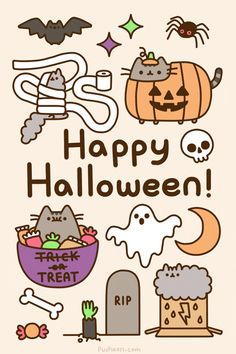 Pusheen KAWAII HALLOWEEN from Blippo Japan & Kawaii Shop! In my country is not celebrated Halloween. Kawaii Halloween, Cute Halloween, Halloween 2014, Spirit Halloween, Happy Halloween Gif, Halloween Tumblr, Halloween Quotes, Halloween Stuff, Chat Pusheen