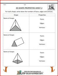 3D Shape properties, a 3d geometry worksheet for 3rd grade