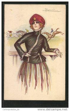 Artiste-CPA Adolfo Busi: junge Frau posiert an der Rennbahn im schwarzen Blazer mit gestreiftem Rock, Pferderennen