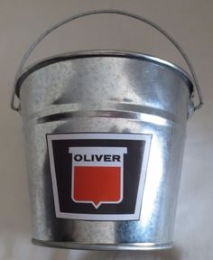 NEW OLIVER LOGO GALVANIZED PAIL (SET OF 4) GREAT FOR BANQUET TABLE CENTERPIECE