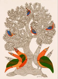 Peacocks & Tree by Durgabai Vyam: indigenous artist of Gond tribe in Central India expressing their closeness to Nature. Acrylic & ink on paper Kerala Mural Painting, Indian Art Paintings, Madhubani Painting, Garden Painting, Kalamkari Painting, Madhubani Art, Indian Folk Art, India Art, Hand Art