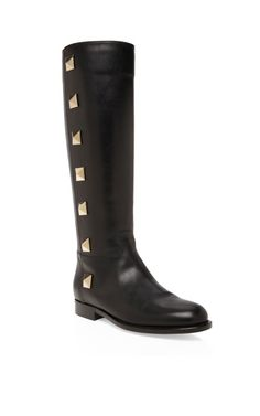 Valentino spikes are grown up, bigger is better in these Black Lock Boot #shoeoftheday