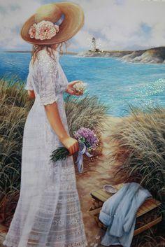 "ORIGINAL art print w/hanging ribbon Small ""Intimate View"" Aprrox. ORIGINAL art print w/hanging ribbon Source by etsy. Lighthouse Gifts, Gift Baskets For Women, Feminine Decor, Woman Wine, Art Abstrait, Beach Scenes, Prints For Sale, Figurative Art, Female Art"
