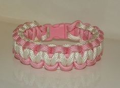 Pink and White (Breast Cancer Awareness) Paracord Bracelet on Etsy, $5.00