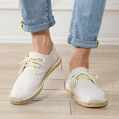 Men Hand Stitching Non Adhesives Linen Flat Lace Up Espadrilles – shecici Casual Heels, Casual Sneakers, Leather Loafers, Leather Men, Leather Sandals, Casual Formal Dresses, Baskets, Lace Up Espadrilles, Moda Casual