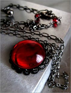 Dark Blood Red Glass Pendant Necklace with Black Chain