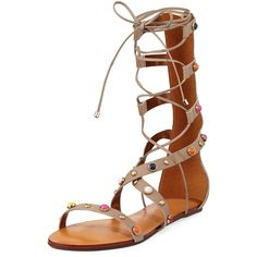 Carrano Liane Embellished Leather Gladiator Sandal ($139) ❤ liked on Polyvore featuring shoes, sandals, sand, flat sandals, strappy sandals, studded gladiator sandals, lace up flat sandals and strappy flat sandals