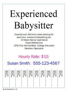 Simple tear off flyer design | Babysitting Flyer Template ...