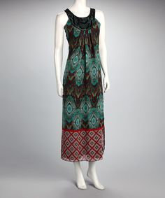 Take a look at this Voir Voir Brown & Turquoise Yoke Maxi Dress by Voir Voir on #zulily today!