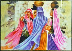 Rajasthani Ladies with Water Pots (Reprint On Paper - Unframed))