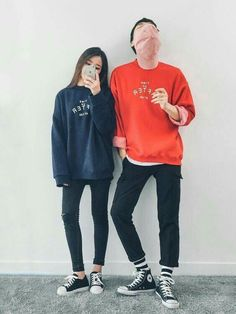 Korean Fashion: Couple Look♥ Great outfit ideas/looks for couples to wear  . Korean Couple Fashion, Korean Fashion Winter, Korean Fashion Trends, Korean Street Fashion, Korea Fashion, Asian Fashion, Street Style Outfits, Asian Street Style, Fashion Outfits