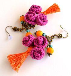 pink orange tassel earrings,ooak boho tassel earrings,funky tassel earrings,ethnic earrings,pom pom earrings,marmotescu,gift for her