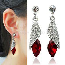 Salable Delicate Shining Silver+Red Rhinestone Crystal Teardrop Dangle Earrings
