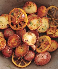 roasted potatoes and lemon with dill.
