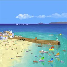 St Ives Holiday Seaside Art, Seaside Decor, St Ives Cornwall, Bedroom Art, Beach Scenes, Illustrations And Posters, Acrylic Art, Art Photography, Cornish Coast