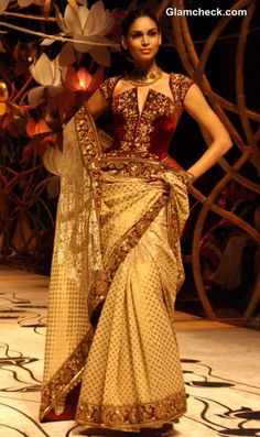 Corset Blouses with Golden Saree - Rohit Bal India Bridal Fashion Week 2013 C ollection