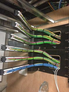 Completed cable termination rack in service position showing cabling. Mechanical Gears, Server Room, Computer Build, Far Future, Home Theater Rooms, Cable Management, Useful Life Hacks, Electronics Projects, Computers