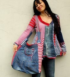 Crazy striped denim jeans recycled hip bag by jamfashion on Etsy, $59.00