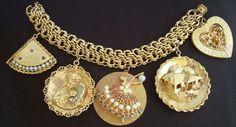 14kt gold charm bracelet 10 commandments ballerina heart 6oz ruby sap…