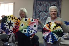 Barbara H showing her colorful, foundation pieced blocks at JB Club. Foundation Piecing, Show And Tell, Quilt Patterns, Boston, Quilting, Colorful, Club, Type, Fabric