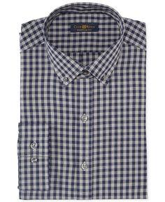 Club Room Estate Wrinkle Resistant Navy Heather Gingham Dress Shirt - Dress Shirts - Men - Macy's