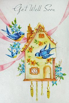 Vintage bluebird get well card