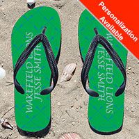 Lacrosse Stick Pattern Green/Blue Girls Flip Flops - Kick back after a lacrosse game with these great flip flops! Fun and functional flip flops for all lacrosse players and fans.