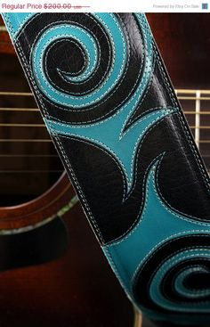 New Years Eve SALE Black leather guitar strap, turquoise leather guitar strap, designer guitar strap, custom guitar strap: Hippie Guitar St. $170.00, via Etsy.