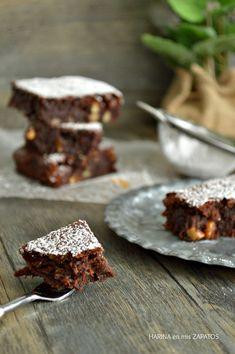 Brownie de Calabaza y Chocolate Choco Chocolate, Cooking Chocolate, Blondie Brownies, Brownie Bar, Cookie Bars, No Bake Cake, Fudge, Food Inspiration, Bakery
