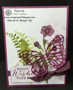 Just Sponge It: Butterfly Basics Birthday Card, Butterflies Thinlits Dies, Ornate Tag Topper Punch, birthday cards, DIY, Stampin' Up!