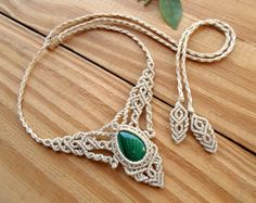 Malachite macrame necklace healing jewelry hippie by SelinofosArt