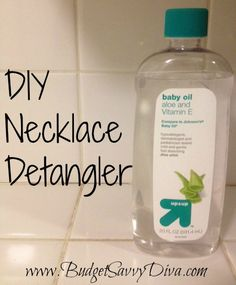 Use Baby Oil as a Necklace Detangler    Knotted necklaces that need to come undone? Here's a simple way to untangle them for cheap.  Rub a few drops of baby oil on each knot.  Use a straight pin and work through each knot until undone. #goodtoknow