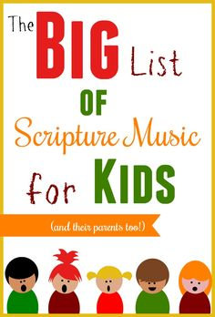 The big list of scripture music for kids! We love listening to Bible verses set to music, especially when it won't drive us as parents crazy! Check out our list and find a new favorite Scripture album! Preschool Bible, Preschool Music, Bible Activities, Bible Games, Children's Bible, Bible For Kids, Music For Kids, Kids Songs, Bible Verse Memorization