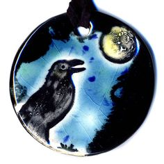 Crow  In the Moonlight Ceramic Necklace in Black and Blue by surly, $20.00