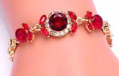 pulseira banhada a ouro 18k com cristal austríaco vermelho
