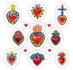 'Mexican Sacred Hearts' Sticker by Colette van der Wal Mexican Folk Art, Mexican Style, Mexican Tattoo, Sacred Heart Tattoos, Wale, Sacred Art, Hand Illustration, Heart Art, Creative Inspiration
