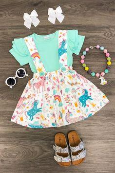 "the Rainbow Unicorn Suspe.""alt=""Over the Rainbo""/></br></br>Over the Rainbow Unicorn Suspender Skirt Set - MINT</br> Toddler Girl Style, Toddler Girl Outfits, Toddler Fashion, Kids Fashion, Toddler Girls, Little Girl Outfits, Cute Outfits For Kids, Little Girl Fashion, Baby Girl Skirts"