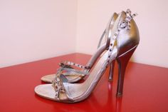 Aldo Shoes EUR 35 US 5 Pewter Metallic Rhinestone Bow Front Cocktail Party Heels #ALDO #Strappy #CocktailParty