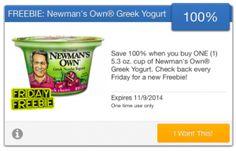 FREE Newman's Own Greek Yogurt courtesy of SavingStar