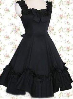 Sleeveless Cotton Gothic Lolita Dress Black