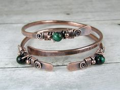 Copper Bangles Green Tiger Eye Bracelets Set of Two by BonzerBeads