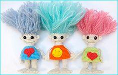 thank you Troll english pdf free pattern tutorial crochet Crochet Chain, Crochet Hook Sizes, Thread Crochet, Crochet Amigurumi Free Patterns, Crochet Doll Pattern, Free Crochet, Crochet Toys, Crochet Instructions, Tutorial Crochet