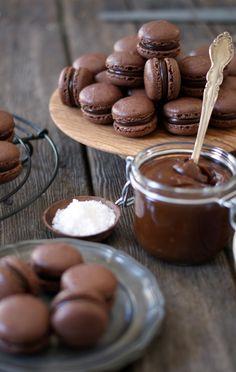 Chocolate & Salted Caramel Macarons