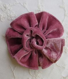DUSTY ROSE PINK Velvet Ribbon Rose Fabric Sequin Beaded Flower Applique Hat Corsage Pin Baby Pageant Bridal Hair Accessory Applique